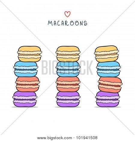 Set of isolated colorful doodle macaroon. Sketch macaroon