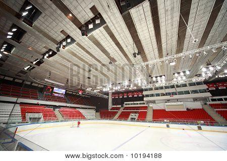 "Stadium On  Hockey Match ""spartak""-""severstal"" On Ice Field In Sports Palace"