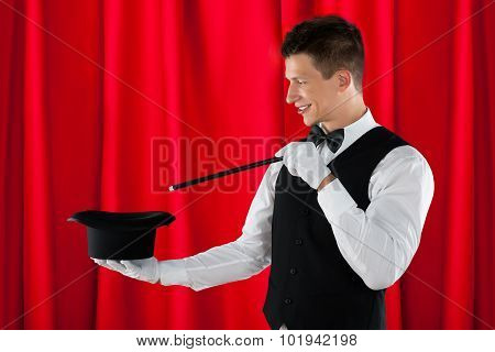 Magician With Magic Wand And Hat