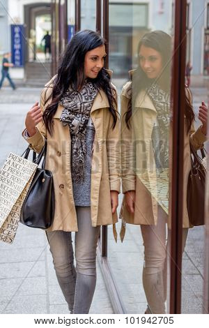 a young woman at einkausbummel. shopping in the city i enjoy