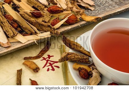 ingredients for a cup of tea in traditional chinese medicine. curing diseases through alternative methods.