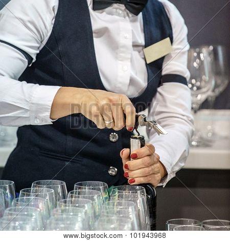 Waiter serving win