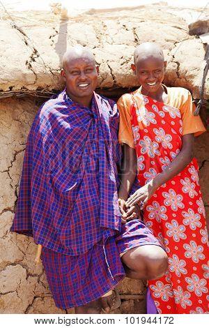 Young Masai Family