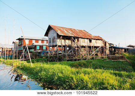 Floating Village House In Inle Lake, Myanmar