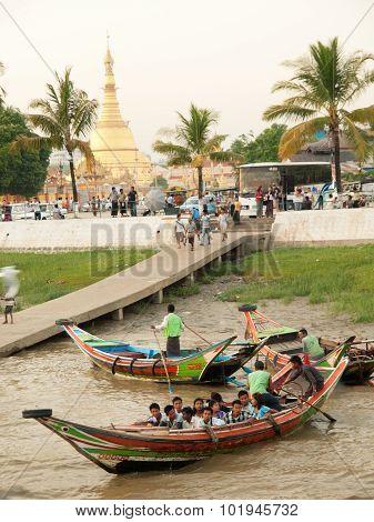 Burmese People In Boats, Yangon