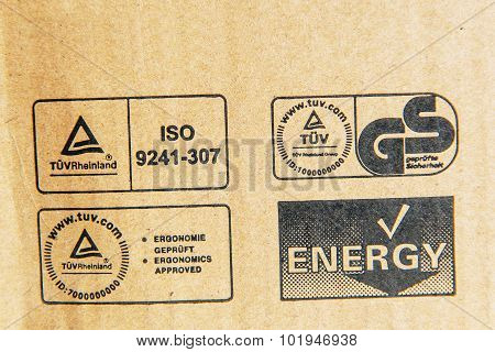 Tuv Rheinland, German Stadard, Energy, Iso Signs On A Computer Cardboard Box