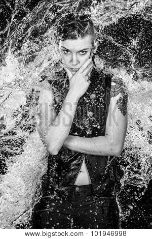 Angry Woman in Water Splashes in Monochrome