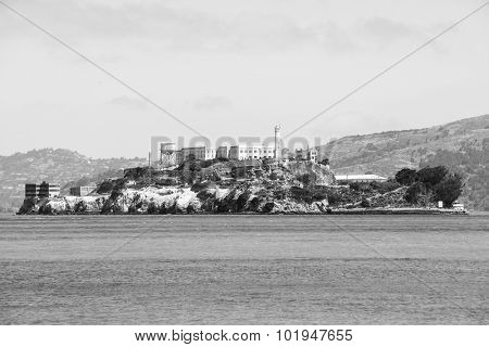 Alcatraz Island as seen from San Francisco in black and white