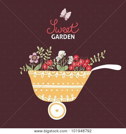 Sweet garden. Decorative greeting card with garden elements and flowers
