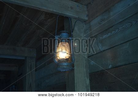 Lantern with Spider Webs in Mine Shaft