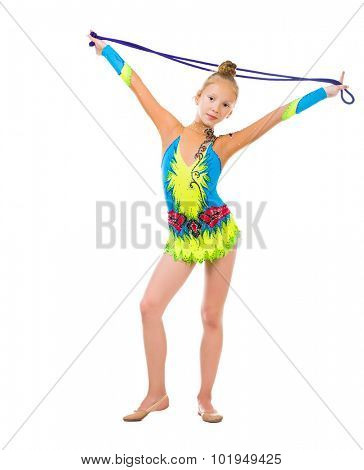 little gymnast holding a skipping rope over her head isolated on white background