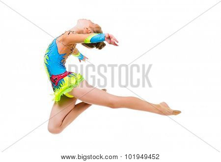 little gymnast doing an exercise jumping isolated on white background