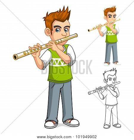 Boy Playing Flute Cartoon Character