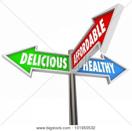 Delicious, healthy and affordable words on three arrow signs to illustrate good nutrition choices in eating or dining