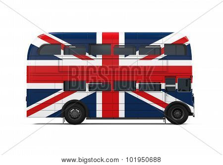 Double Decker Bus Britain Flag