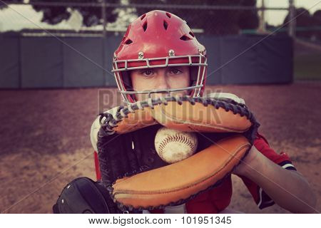Catcher behind the plate.