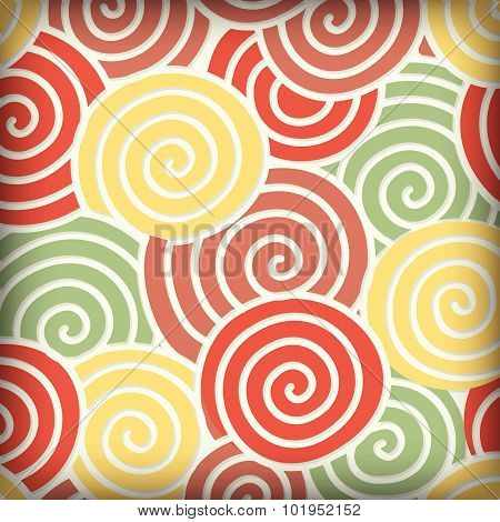 Abstract Colorful Curve And Around Circle, Embossed Shadow, Background Vector