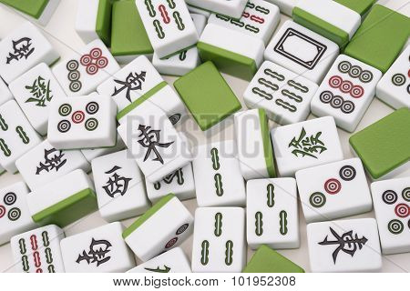 Lots Of Mah Jong Bricks On White Background,the Chinese On The Bricks Menas East, South, West, North