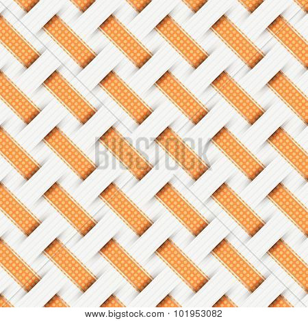 Braided Weave Pattern, Gray Background Vector