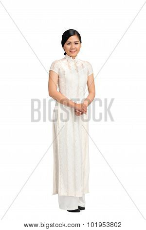 Girl in ao-dai dress
