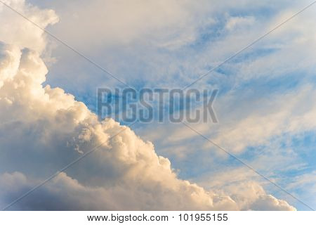 Big Cloudy With Golden Sunlight In Evening Near Sunset Time