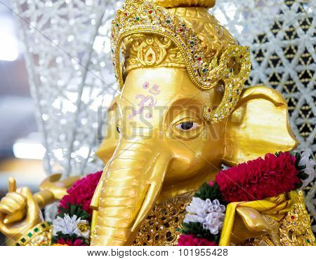 Golden Ganesh  Elephant God Statue In Hinduism Mythology  With Gem Of Crown And Jewel Decoration