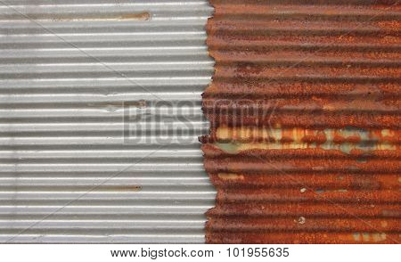 New And Old Rusty Galvanized Zinc. Texture Background