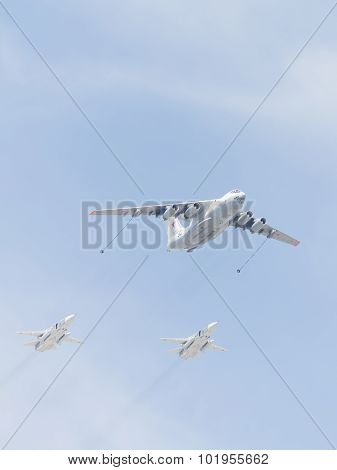 Il-78 And Su-24 In The Sky