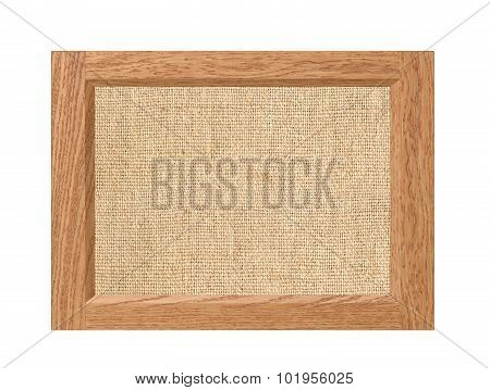 Linen Burlap Texture In Wooden Frame Isolated On White Background