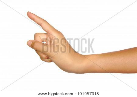 Woman hand touching virtual screen or poiting isolated on a white background