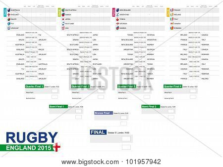 Rugby 2015, Match Schedule Version 2, All Matches, Time And Place. Country Flags.
