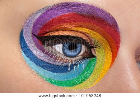 Close Up Blue Eye With Artistic Rainbow Make Up