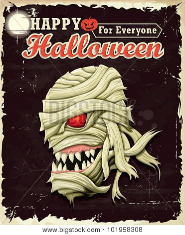 Vintage Halloween Mummy poster set design with mummy