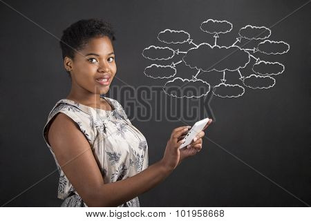 African American Woman With Tablet With A Spider Or Thought Diagram On Blackboard Background