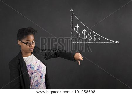 African Woman With Thumbs Down Hand Signal To Decrease In Money On Blackboard Background