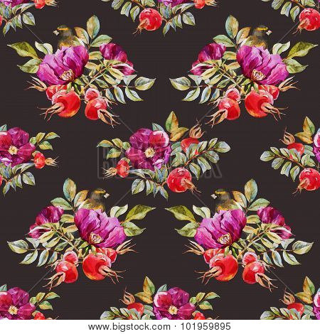 Watercolor dogrose pattern