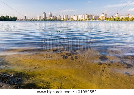 Obolon Skyline Close To The Dnieper River In Kiev