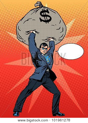 Super businessman hero with a bag of money financial success