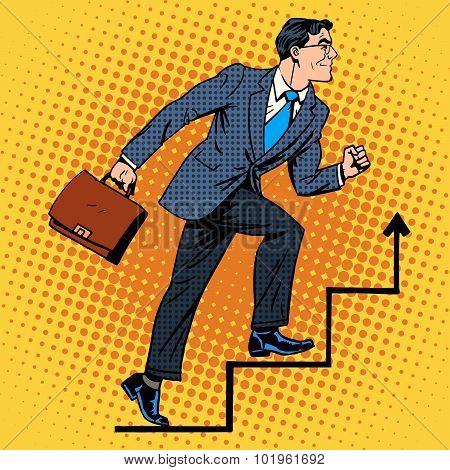 Businessman climbs up the career ladder
