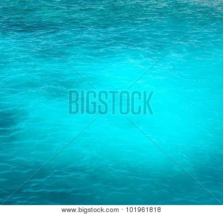 Background Of A Bright Turquoise Ocean Water With Gentle Ripples
