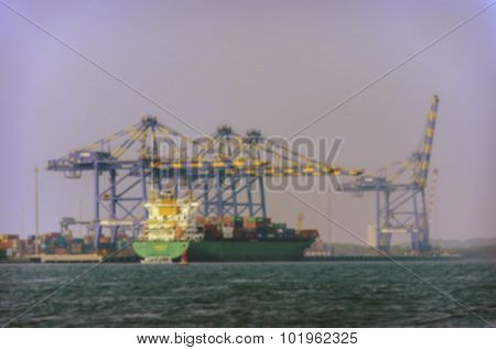 Cargo ship in industrial commercial port