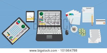 Mockup business table with elements office supplies