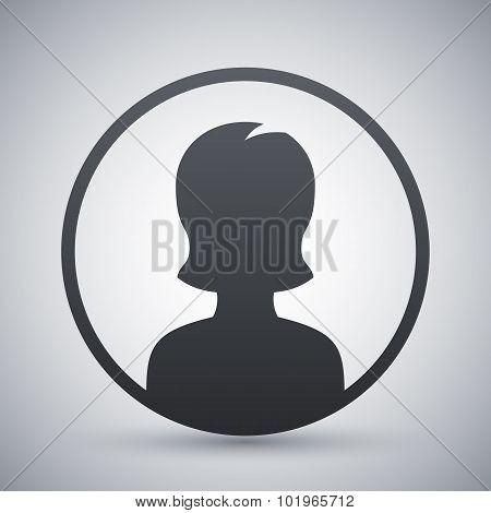 Female User Icon, Vector Illustration