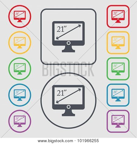 Diagonal Of The Monitor 21 Inches Icon Sign. Symbols On The Round And Square Buttons With Frame. Vec