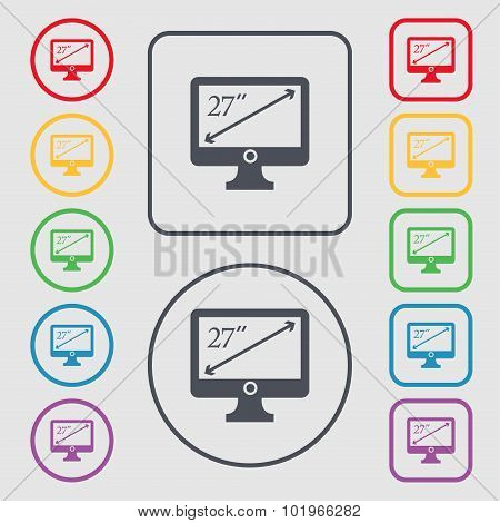 Diagonal Of The Monitor 27 Inches Icon Sign. Symbols On The Round And Square Buttons With Frame. Vec