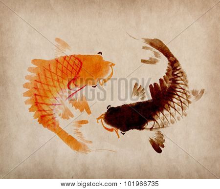 Red and black koi carps hand drawn in traditional style