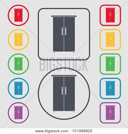 Cupboard Icon Sign. Symbols On The Round And Square Buttons With Frame. Vector