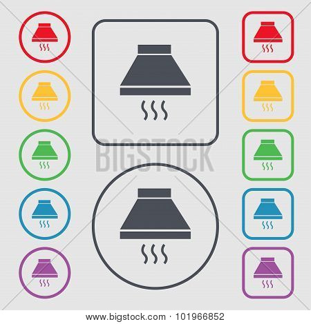 Kitchen Hood Icon Sign. Symbols On The Round And Square Buttons With Frame. Vector
