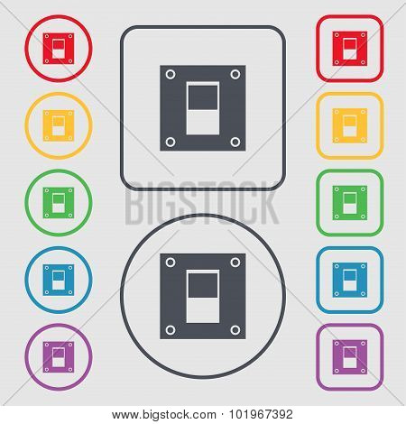 Power Switch Icon Sign. Symbols On The Round And Square Buttons With Frame. Vector