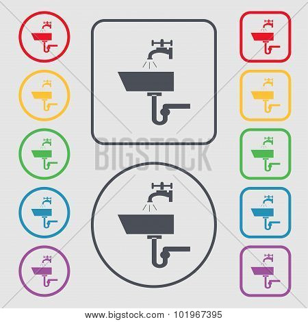 Washbasin Icon Sign. Symbols On The Round And Square Buttons With Frame. Vector